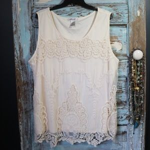 Boho lace overlay top size 3X